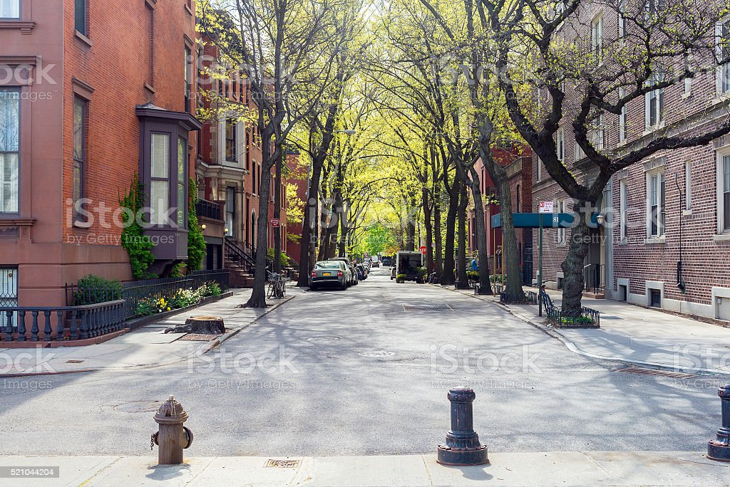 sunny day at the street in Brooklyn, New York stock photo
