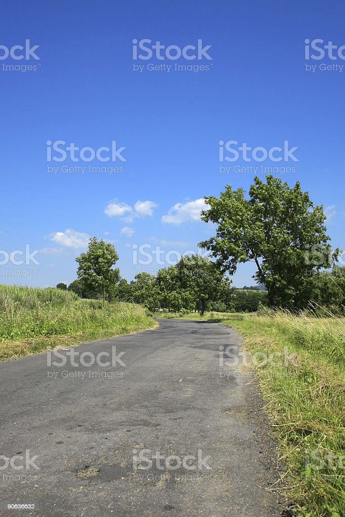 Sunny day country road royalty-free stock photo