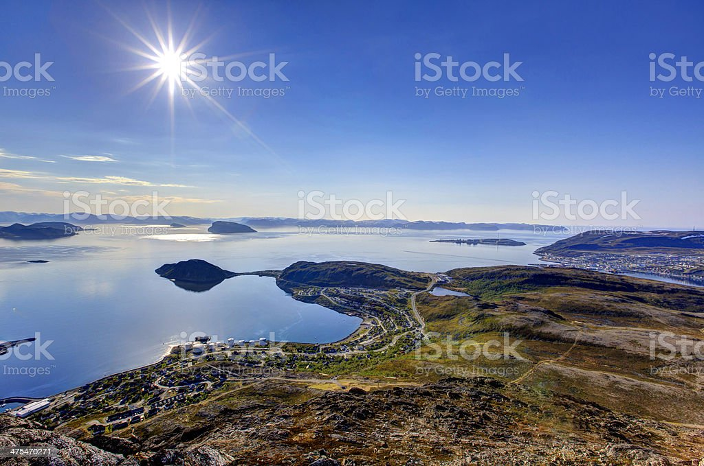 Sunny day in Hammerfest. stock photo