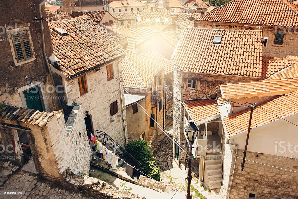 Sunny Day in Kotor Old Town, Montenegro stock photo