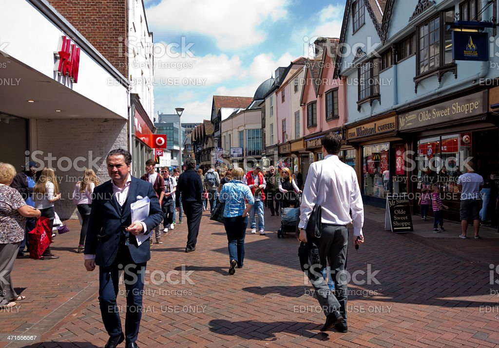 Sunny day in Tavern Street, Ipswich stock photo
