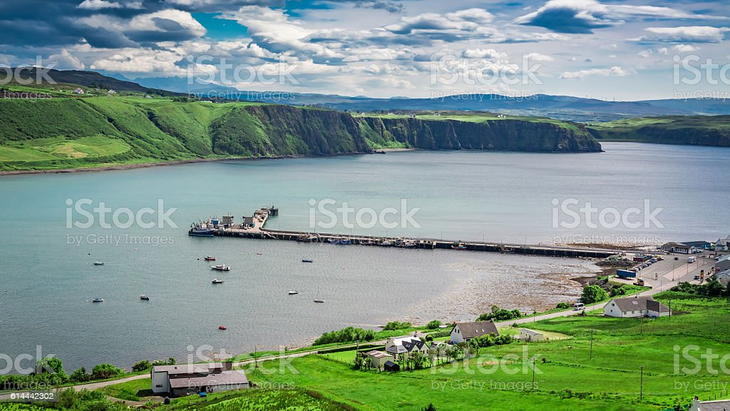 Sunny day in the Uig town, Skye Island, Scotland stock photo