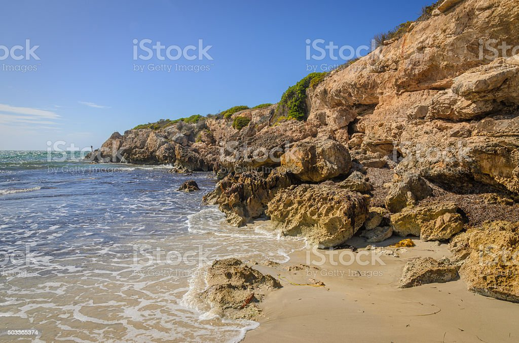 Sunny day landscape coast line cliffs at the beach stock photo