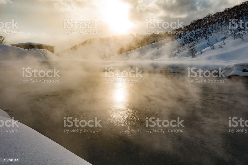 Sunny Day Natural Mountain Hot Springs stock photo