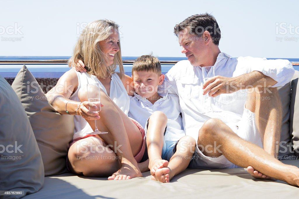 sunny day on boat stock photo