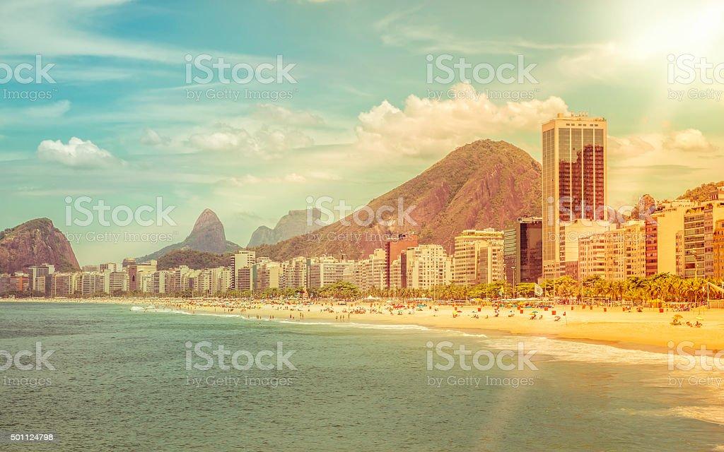 Sunny day on Copacabana Beach in Rio de Janeiro stock photo