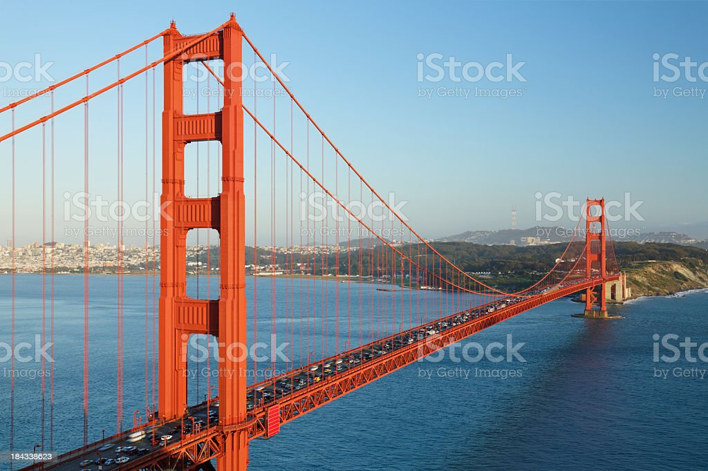 Sunny day on the crowded Golden Gate Bridge royalty-free stock photo