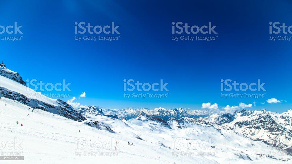 sunny day on the ski slopes of Cervinia stock photo