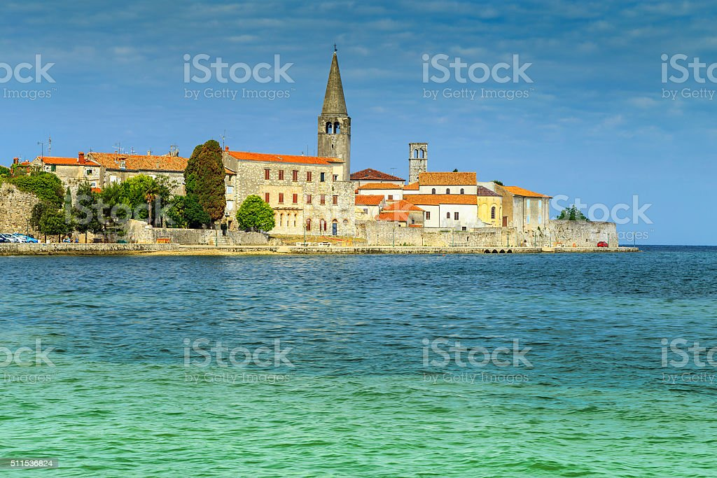 Sunny day with Porec old town,Istria region,Croatia,Europe stock photo