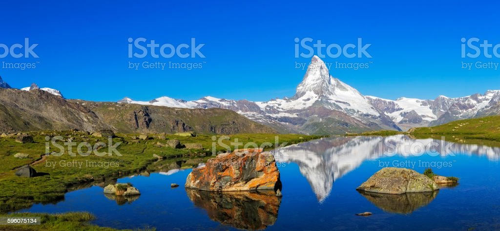 Sunny day with view to Matterhorn  - XXL Panorama stock photo
