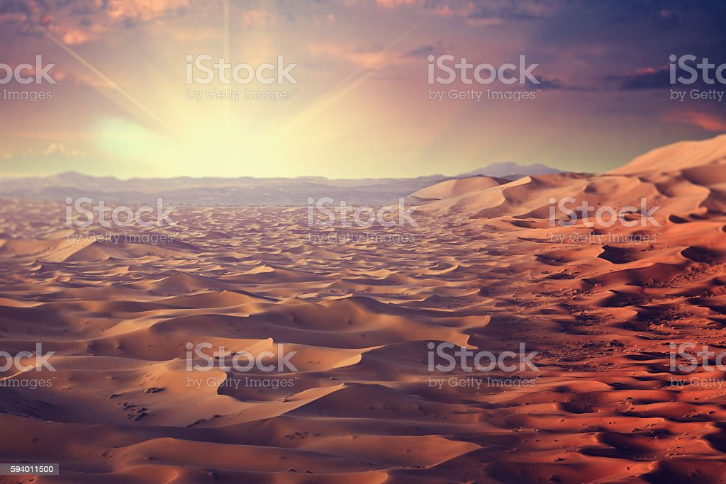 Sunny desert, abstract ecological and environmental backgrounds stock photo