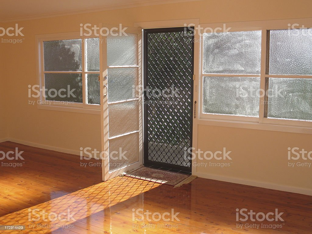 Sunny Doorway Empty Room stock photo