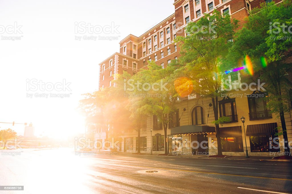 Sunny Downtown Chattanooga Tennessee Street Scene Architecture Southern USA stock photo