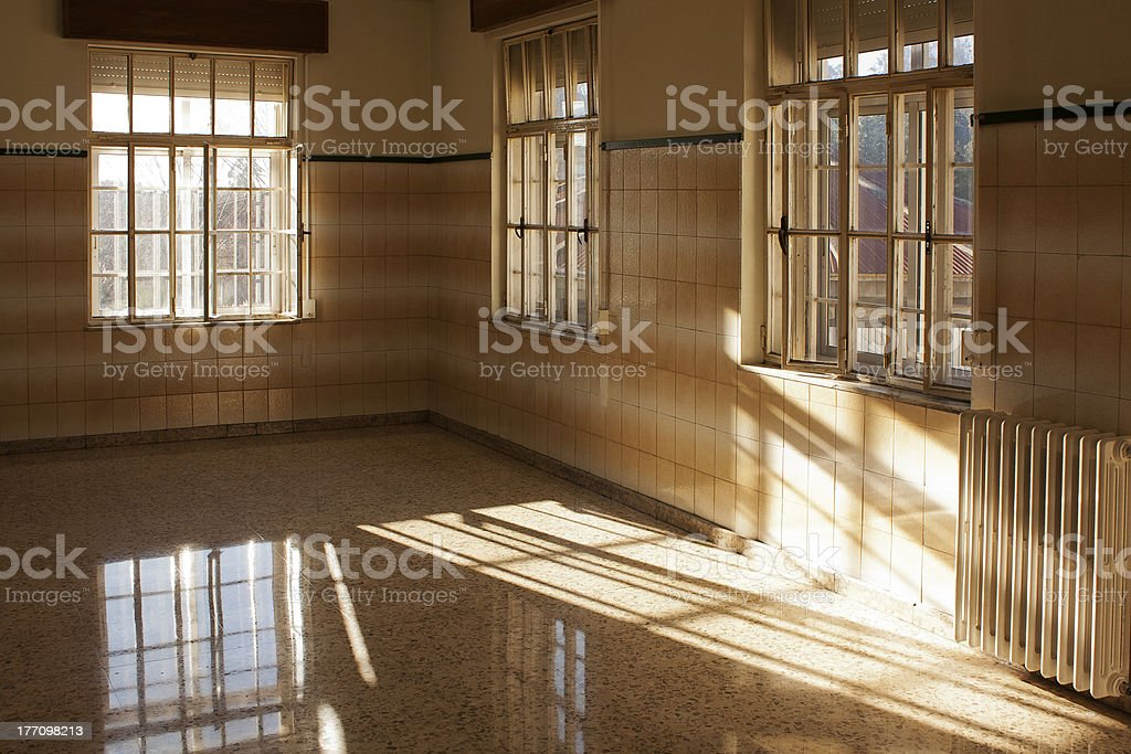 sunny empty room in old building royalty-free stock photo