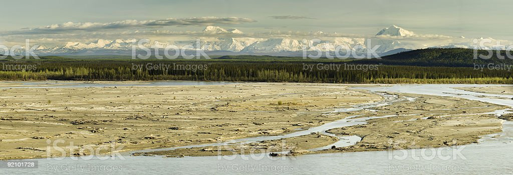 Sunny evening Alaskan panorama royalty-free stock photo