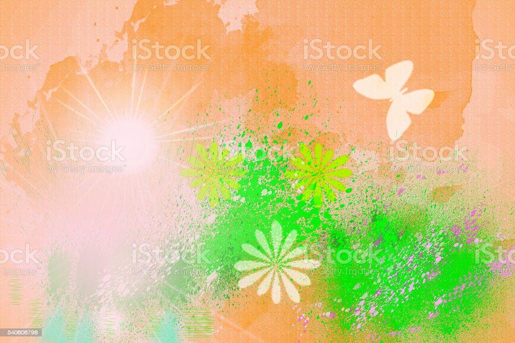 Sunny flowering field. stock photo