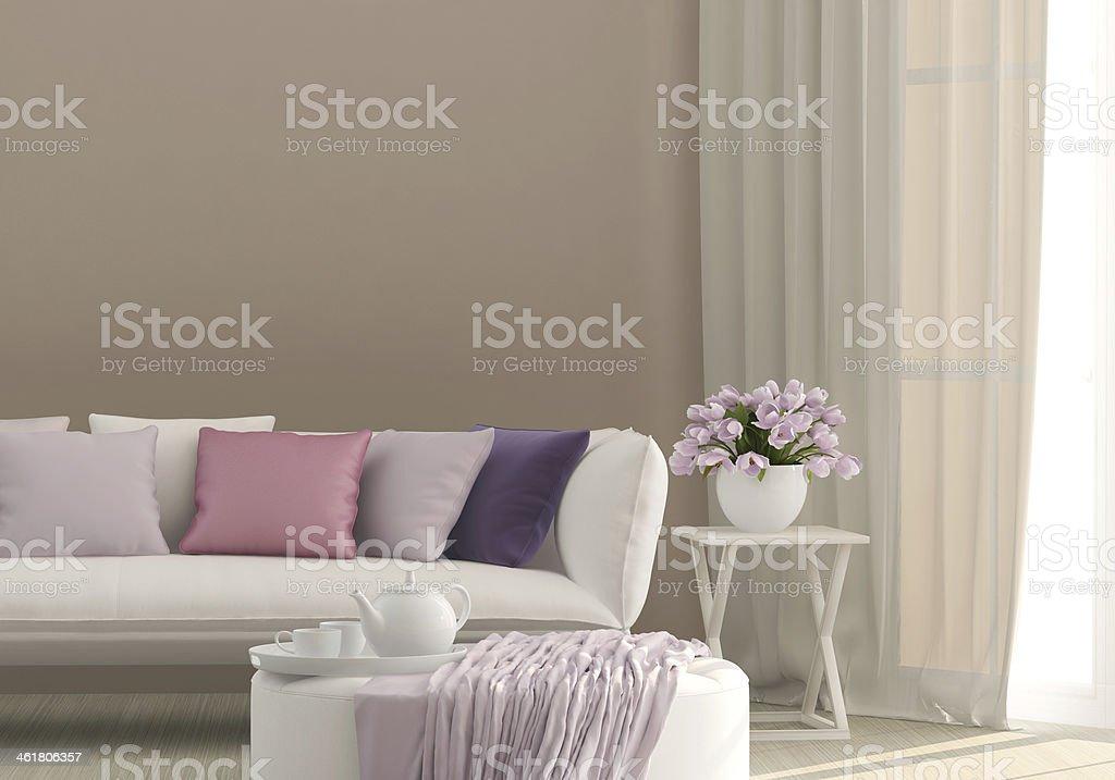 Sunny living room stock photo