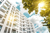 sunny  modern cubic white residential houses in berlin
