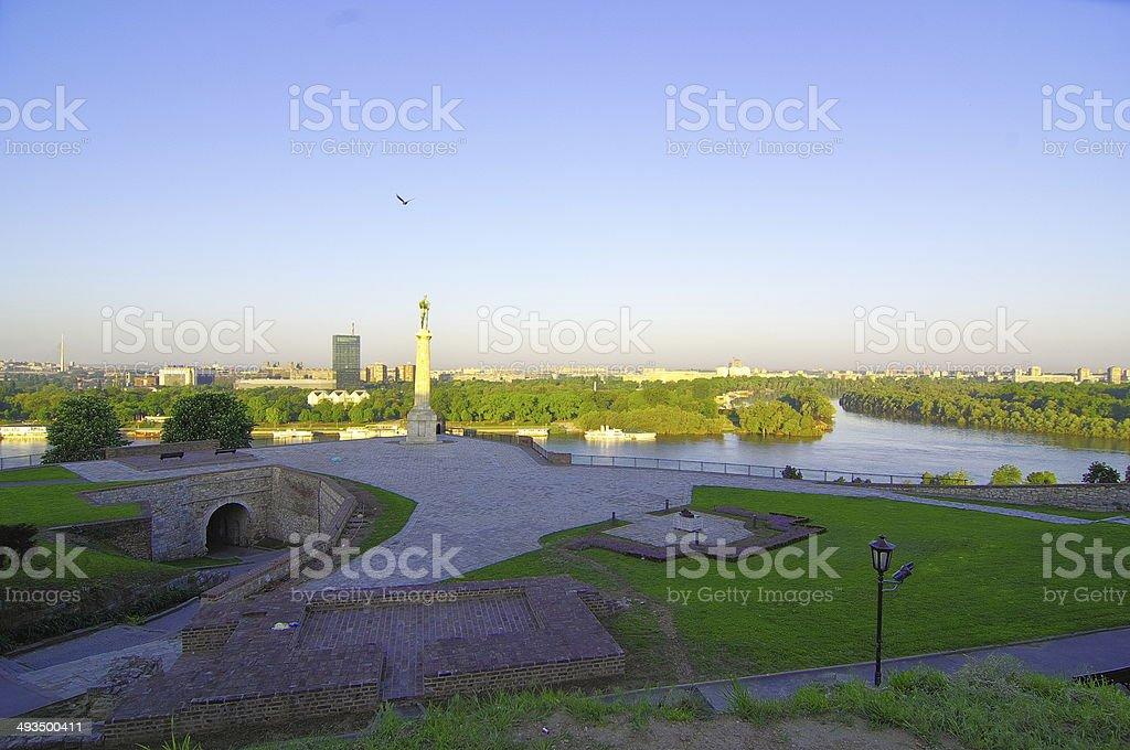 Sunny morning at Kalemegdan fortress in Belgrade royalty-free stock photo