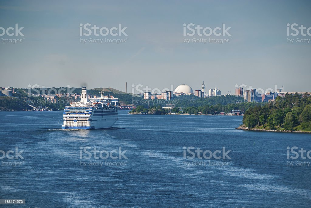 Sunny morning in the Strait near Stockholm royalty-free stock photo