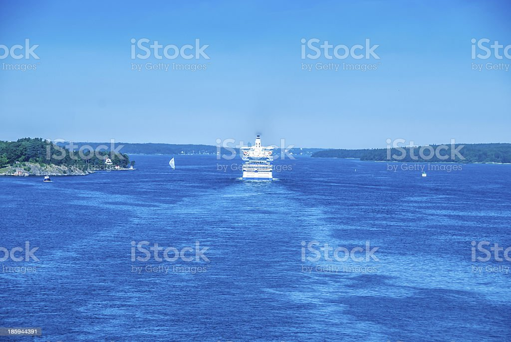 Sunny morning in the Strait near Stockholm, Sweden royalty-free stock photo