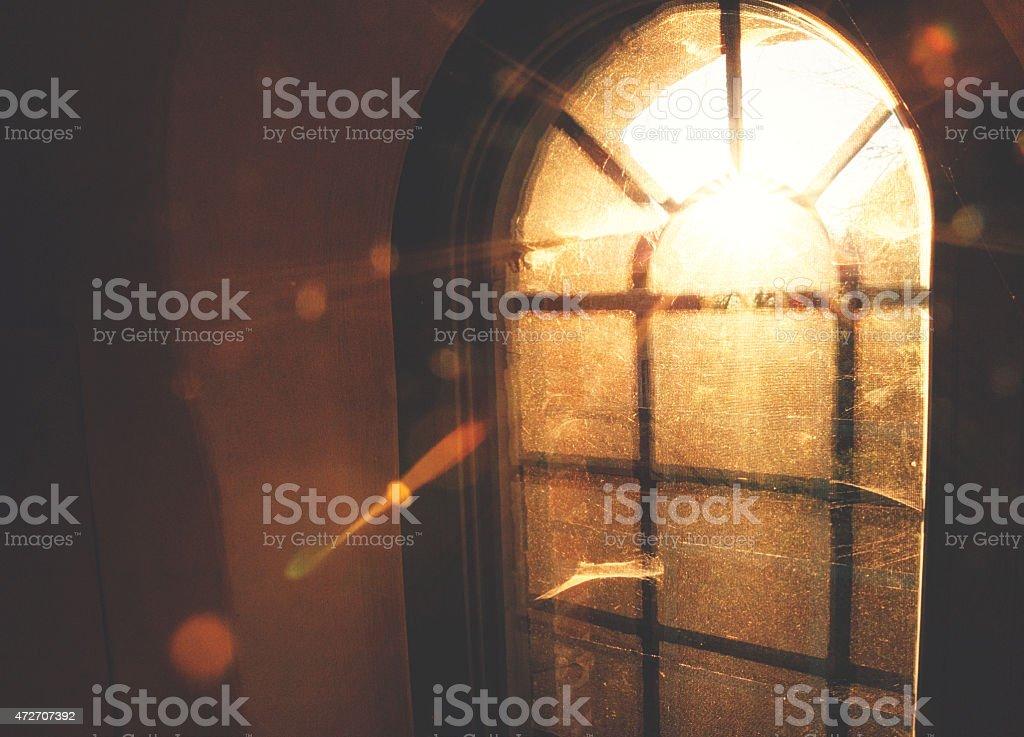 Sunny morning lights trough the window stock photo