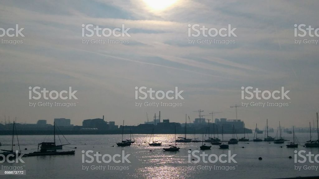 Sunny morning, North Greenwich stock photo