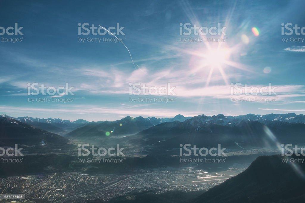 Sunny mountain landscape stock photo