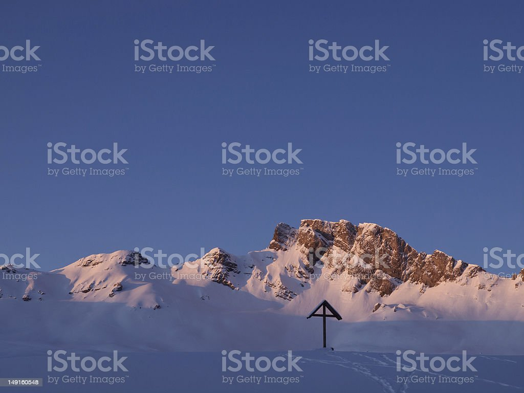 Sunny mountain range stock photo
