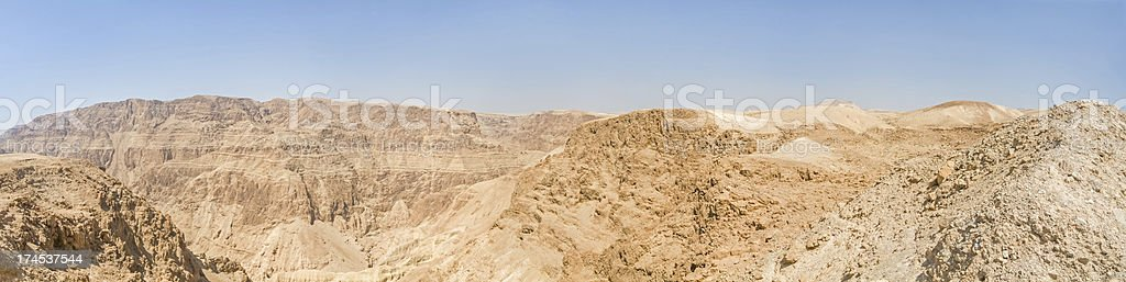 Sunny mountain ridge landscape panorama in Judean desert royalty-free stock photo
