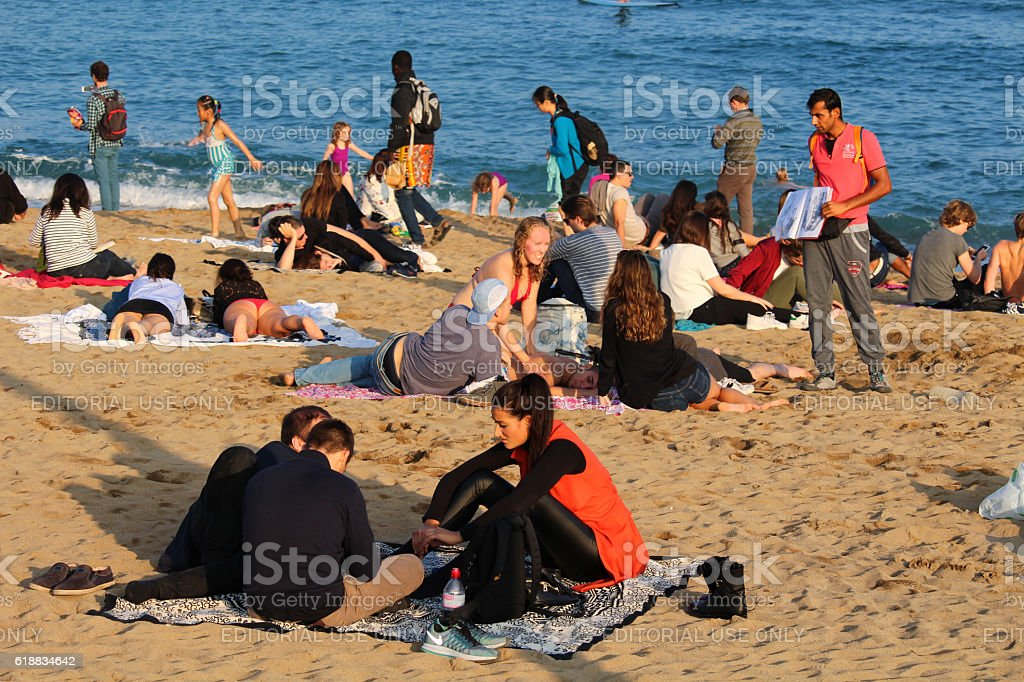 Sunny october weekend Barcelona Beach stock photo