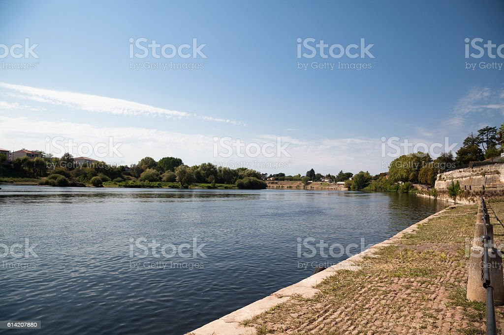 sunny  Old Quay and river at Bergerac Dordogne France stock photo