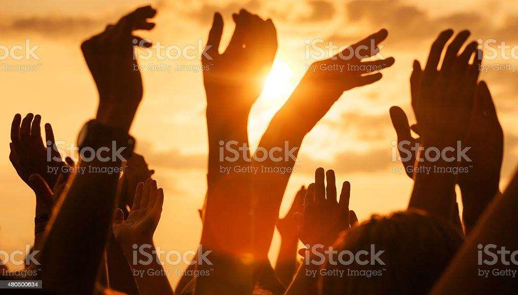 sunny open air rock festival stock photo
