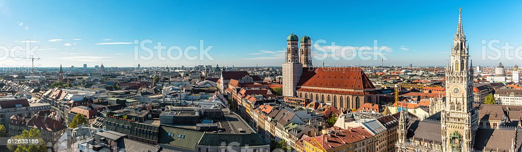 sunny panorama view over munich with Frauenkirche and Town Hall stock photo