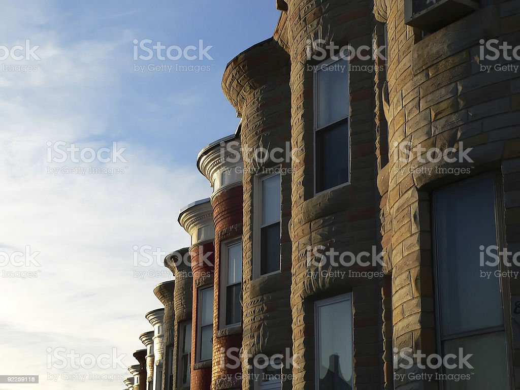 Sunny Row Homes stock photo