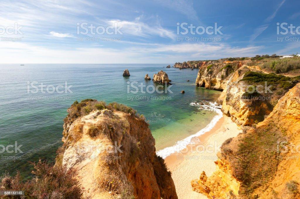 Sunny seaside of Algarve stock photo