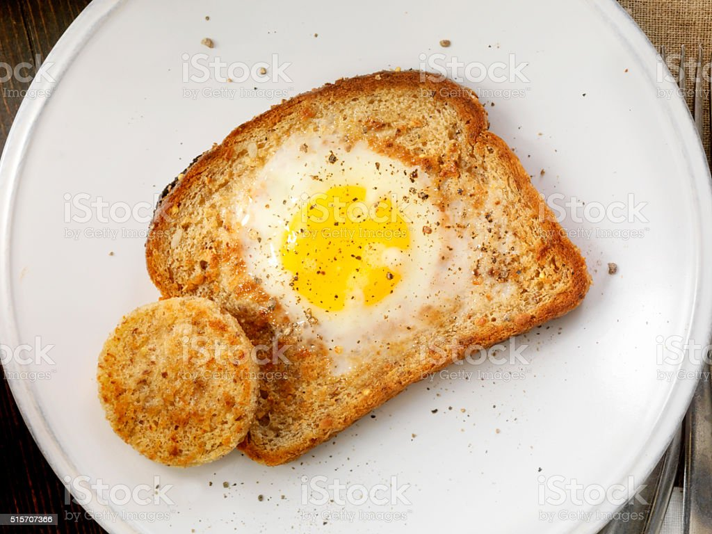 Sunny side up Egg in a hole stock photo