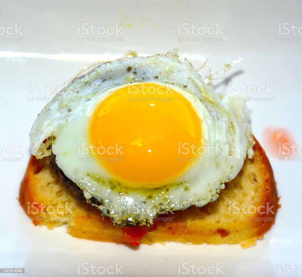 Sunny side up, egg toast stock photo