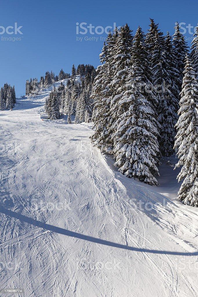 Sunny Ski Slope near Megeve in French Alps, France royalty-free stock photo