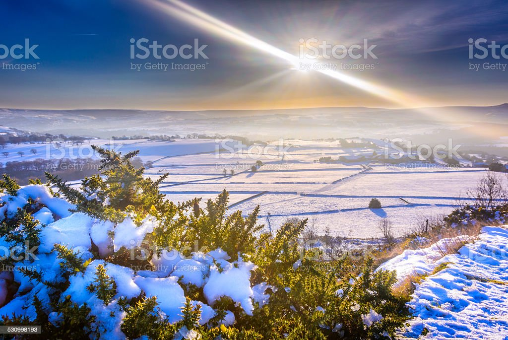 Sunny snow at Castle Hill stock photo