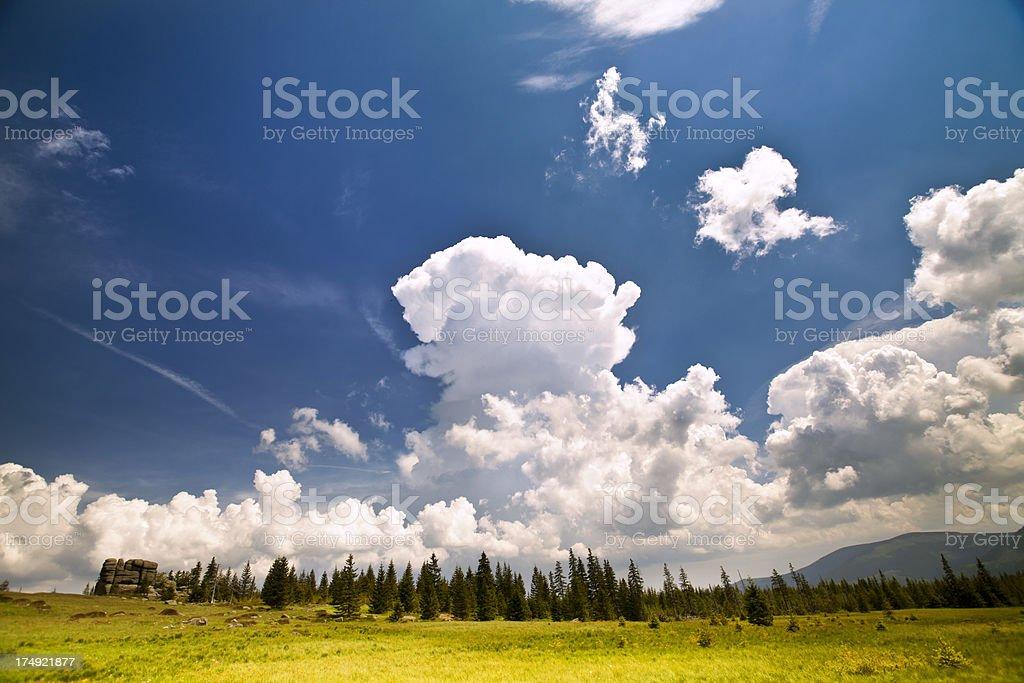 Sunny spring day in Karkonosze, Poland royalty-free stock photo