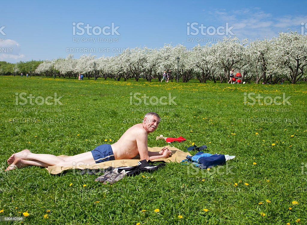 Sunny spring day in Moscow stock photo