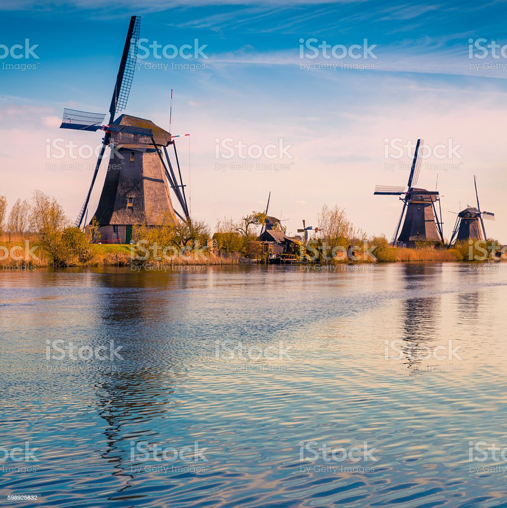 Sunny spring scene in the canal in Netherlands stock photo