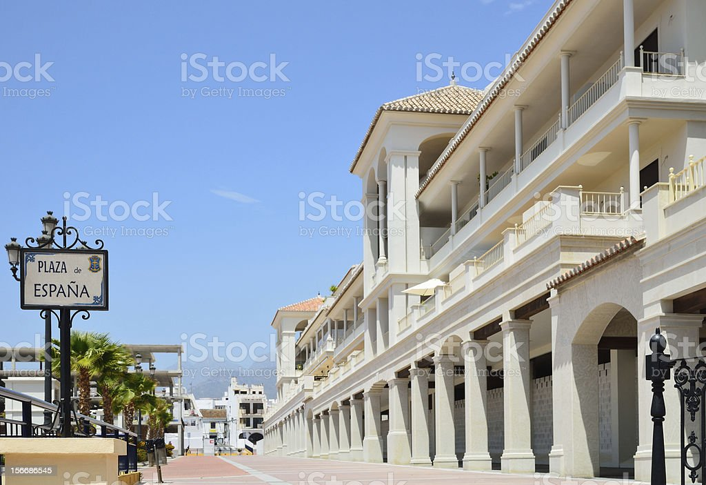 Sunny square of Spain in Nerja stock photo