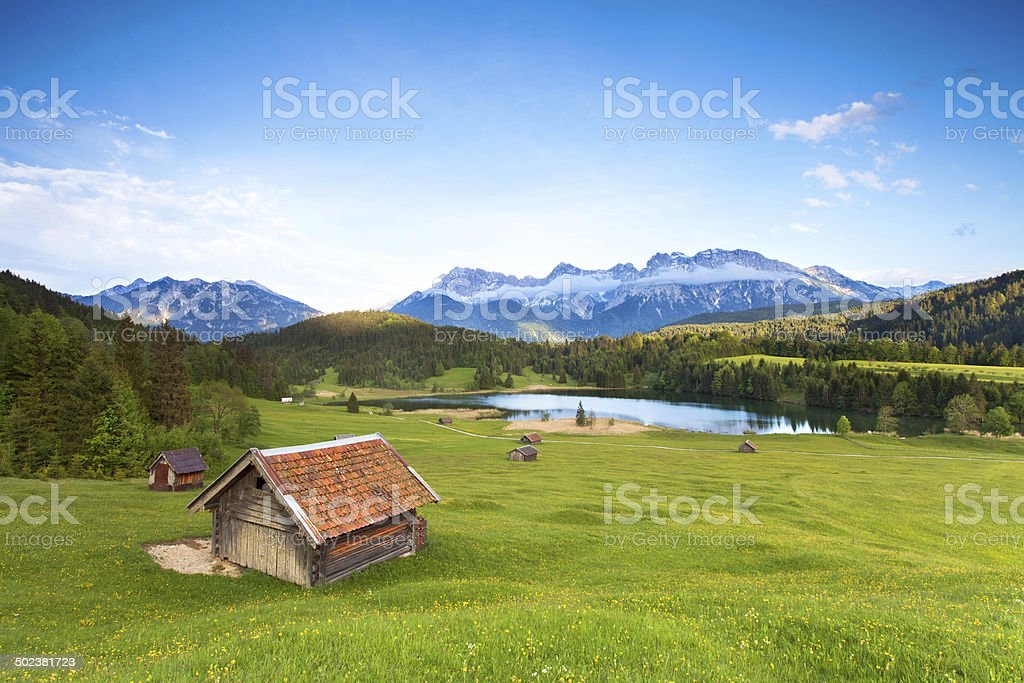 sunny summer day at bavarian mountains stock photo