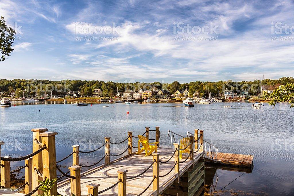Sunny Summer Mahone Bay Leisure Dock in Nova Scotia Canada stock photo