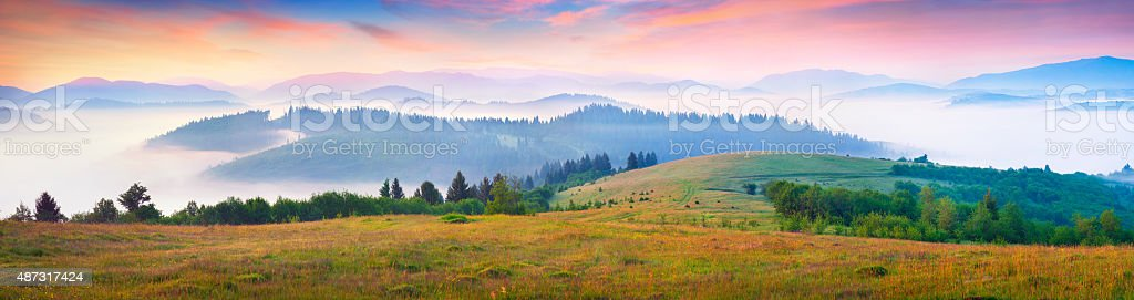 Sunny summer morning in the foggy Carpathian mountains stock photo