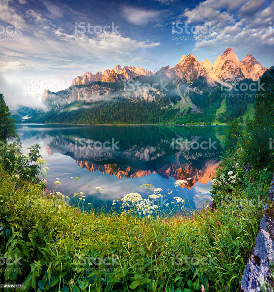 Sunny summer morning on the Vorderer Gosausee lake stock photo