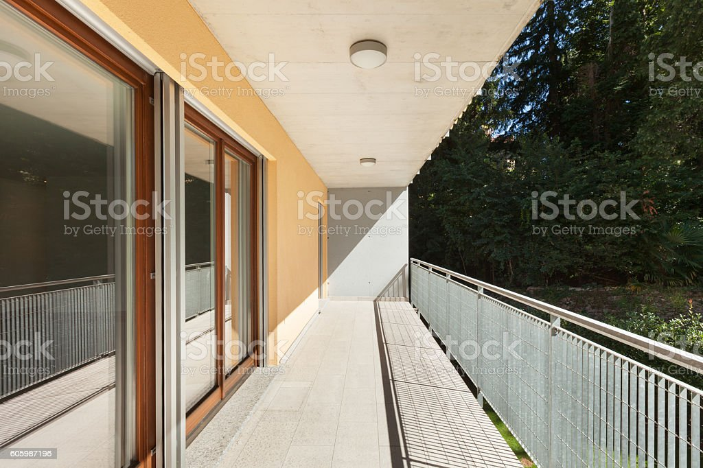 Sunny terrace of an apartment building stock photo