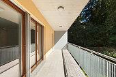 Sunny terrace of an apartment building